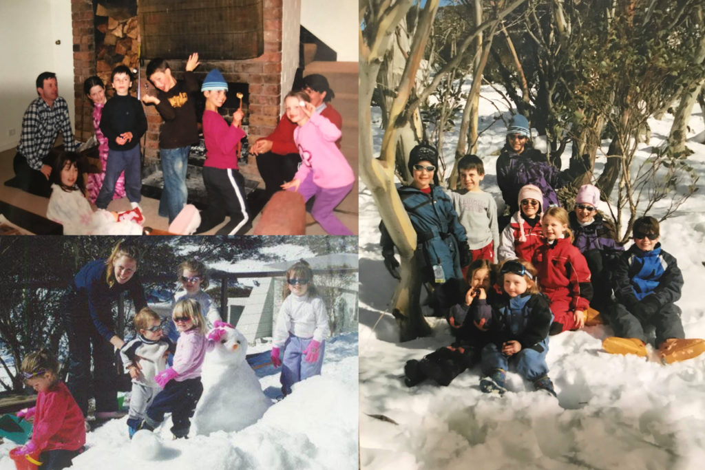A collage of photos from the writer's youth. Clockwise from top left: a group of children roasting marshmallows at a fireplace; a group of children in snowsuits sitting amongst snowgums in the snow; and a group of children building a snowman on a balcony.